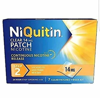 2 Boxes Niquitin Step 2, 24 Hour Nicotine Clear Patches 14Mg