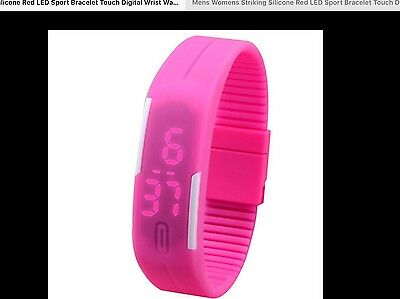 girl's first watch  pink silicone digital led night vision durable time date