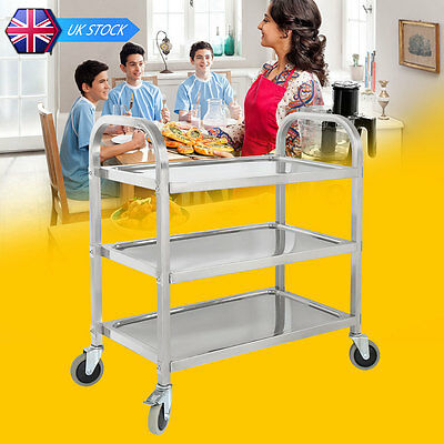 3 Tier Catering Stainless Steel Rolling Kitchen Cart Storage Serving Trolley