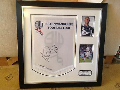 Benik Afobe Superb Signed Framed Pennant + Bolton Wand FC Cert Of Authenticity