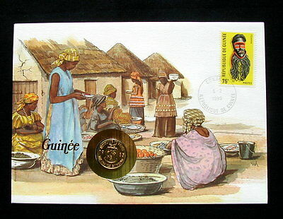 1985/1990 GUINEA UNC coin 10 francs on cover & stamp