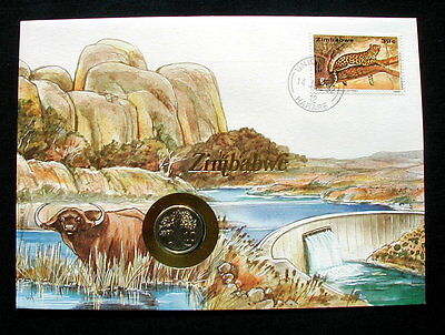 1991/1992 ZIMBABWE UNC coin on cover & stamp Leopard