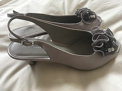 Ladies Silver Sandals Shoes Peep Toe Size 38 5 Wedding Evening