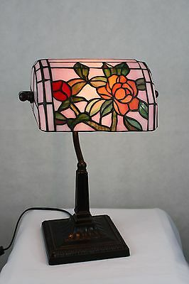 Genuine Stained Glass Roses With Pink Background Banker Lamp, One Only!