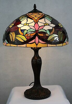 """16"""" (40cm Shade Diameter) Genuine Stained Glass Floral Table Lamp"""