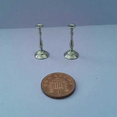 Dolls House Miniature - Pair Candlesticks - 1/12 Scale