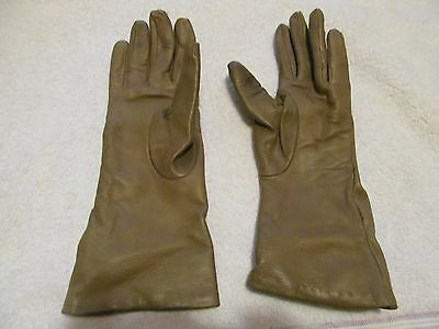 Women's 100% Cashmere Lined Soft Leather Gloves - Size 6 1/2 - Italy - VGUC