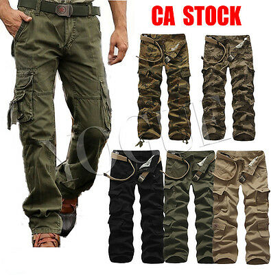 Mens Military Army Cargo Pant Tactical Fatigue Combat Camoflage Cargo Trousers