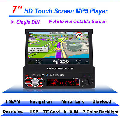 1 DIN Stereo Car Radio MP5 GPS Navigation 7 inch Touch Screen Bluetooth SD USB