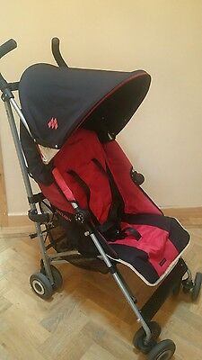 Maclaren Quest Pushchair / Stroller  / Buggy in Black and Red inc Raincover