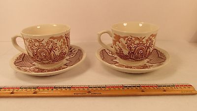 2 Alfred Meakin Fair Winds Brown 8 oz Cups & Saucers 5 1/2 in Sailor's Farewell