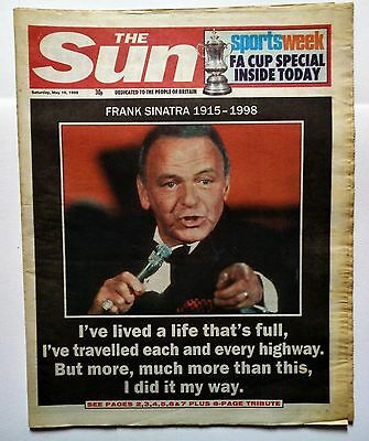 FRANK SINATRA OBITUARY Full Newspaper The Sun May 16th 1998 8 Page Death Article