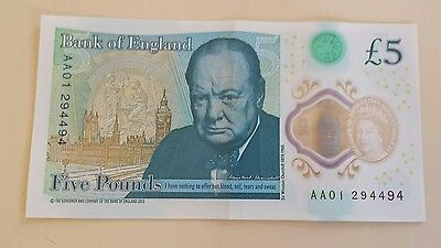 Low Serial Number Aa01 New Plastic Uk £5 Note, No Marks Etc >>>>