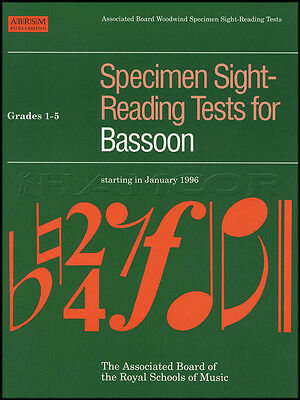 Specimen Sight Reading Tests for Bassoon Grades 1-5 ABRSM Sheet Music Book