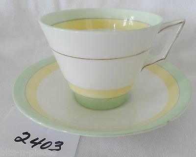 ENGLISH Bone China Cup & Saucer ART DECO STYLE #3551 green white yellow