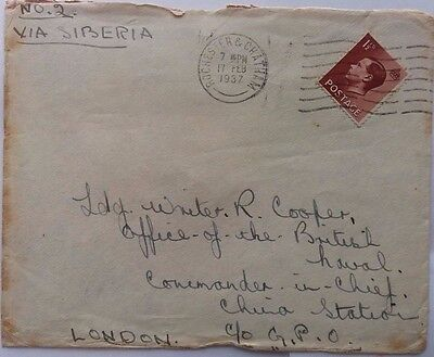 Great Britain 1937 Cover With King Edward Viii Stamp To Royal Navy China Station