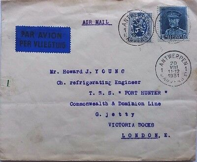 Belgium 1931 Cover To Ship S. S. Port Hunter London With Nice Airmail Label