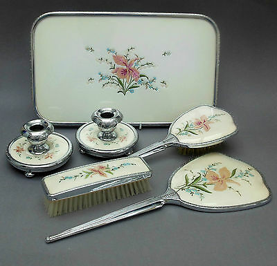 Vintage Petit Point Vanity Set on Tray ~ Embroidered Floral & Chrome /  English
