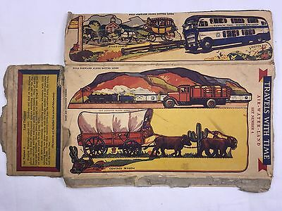 1937 QUAKER OATS CEREAL BOX CUTOUT Travels With Time Air Water Land Set #4 1498
