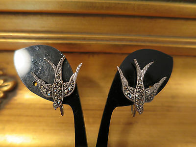 Vintage Marcasite & Sterling Silver Art Deco Bird Screw Back Earrings, Germany
