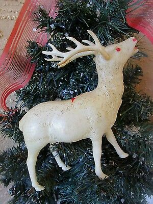 Vintage White Celluloid Reindeer Red Rhinestone Eyes Christmas Decor/ornament