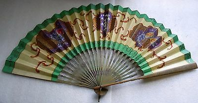 Antique Mourning Hand Painted Lily Valley & Pansy Bamboo Handle Hand Fan, c1900
