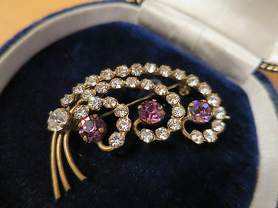 Vintage 1950's Purple & Clear Rhinestone Brooch, Gold Tone, Rich Purple
