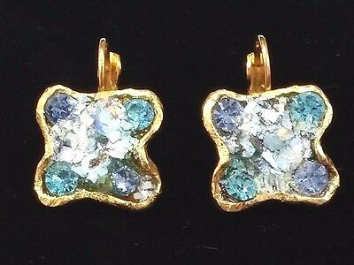 Ancient Roman Glass Fragments 200 B.C Womens Jewelry New Earrings Gold Plated