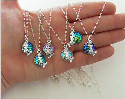 9Colors Cabochon little mermaid Necklace Pendants For Girls Jewelry DIY Gifts