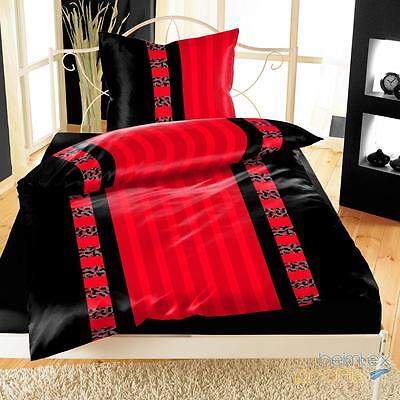 mikrofaser bettw sche 135x200 cm 4 teilig rot schwarz streifen eur 14 95 picclick de. Black Bedroom Furniture Sets. Home Design Ideas