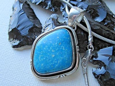 Vintage Navajo Phyllis Smith Turquoise & Sterling Silver Pendant on 925 Necklace