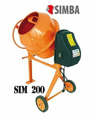 Electric Cement Mixer 200L Litre 230V Volt 850W Portable Concrete Mortar Plaster