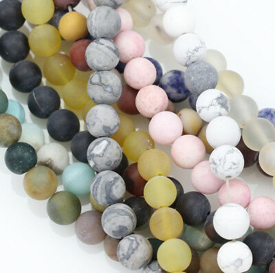 8mm Round Frosted Matte Semi-precious Gemstone Beads Jewellery Making -1 String