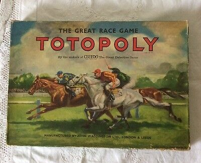 TOTOPOLY 1960's EDITION COMPLETE WADDINGTONS HORSE RACING BOARD GAME VGC