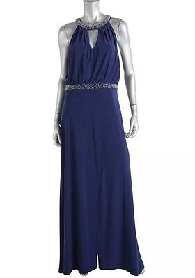 AIDAN MATTOX New Navy Embellished Keyhole Evening Gown Size 4 $295 NWT