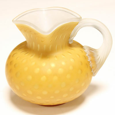 Antique Mother of Pearl Cased Glass Victorian Milk Pitcher Yellow Satin Dots