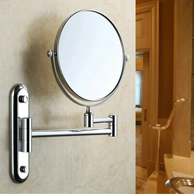 Swing Arm Wall Mount Bathroom Beauty Magnifying Makeup Mirror Chrome Double-Side