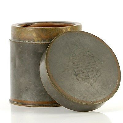 FIne Antique Chinese Pewter Bronze Tea Canister Jar/Caddy, Marked, 19/20th C