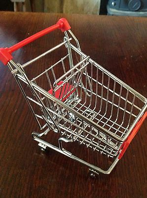 Vintage Sindy sized chrome heavy shopping trolley with baby seat