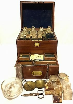 Antique Georgian Mahogany Apothecary Chemist Box With Bottles and Scales 19th C