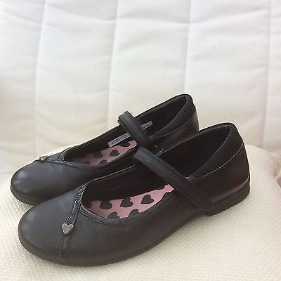 Girls Clarks Black Leather School Shoes Size 3 F