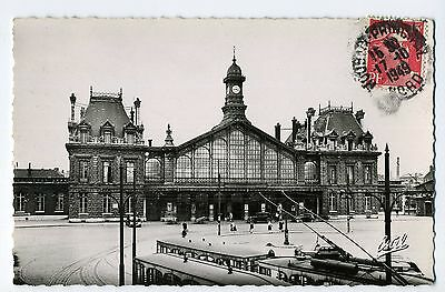 Cpa Photo Roubaix La Gare - Tram - Cpa Animee 1949
