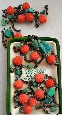 Antique Chinese Export Turquoise Stone, Flower Coral Glass Bead Necklace Estate