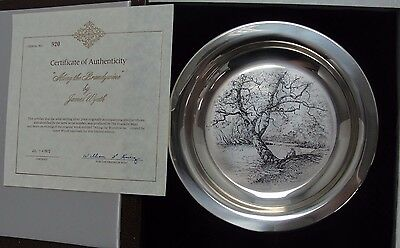 """James Wyeth """"Along The Brandywine"""" Sterling Silver Collector Plate W/ Box #JW72"""