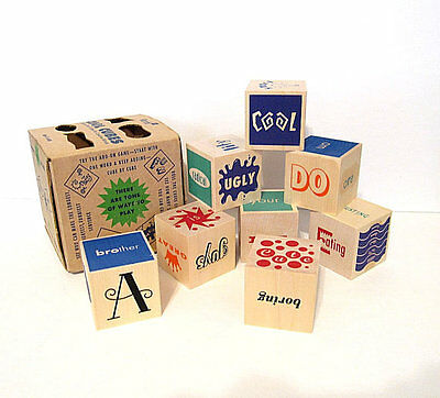 Vintage Wood Block Word Game Cool Cubes 1995 All Ages USA