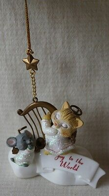 """Joy to the World"" Cat & Mouse Angel Christmas Ornament - EUC!"