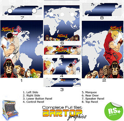 Street Fighter 2 Full/Half Sets Arcade Artwork Stickers Graphics / Laminated