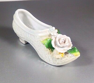 """Decorative Miniature Porcelain Shoe Heel With 3D Rose And Leaves Floral 3 1/2"""""""