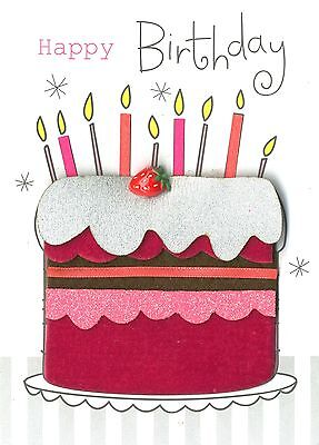 Happy Birthday Cake Embellished Greeting Card Hand Finished Colour Mania Cards
