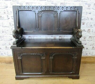 Vintage Solid Oak Monks Bench/Coffee Table/Storage Chest/Settle/Coffer